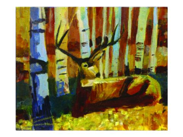 Painting of buck deer in autumn forest
